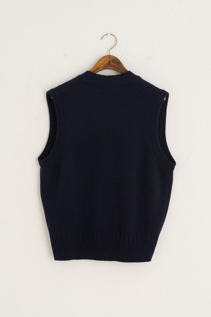 Simple Button Down Vest, Navy