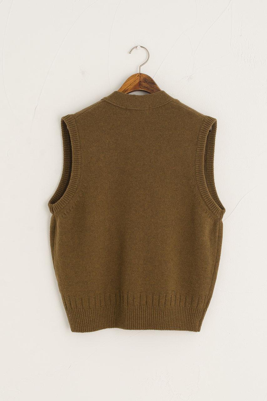 Simple Button Down Vest, Brown