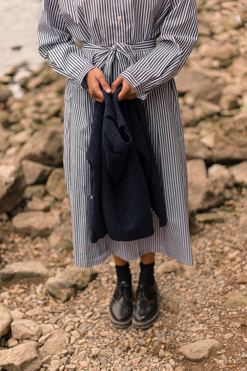 Jina Stripe Shirt Dress, Navy