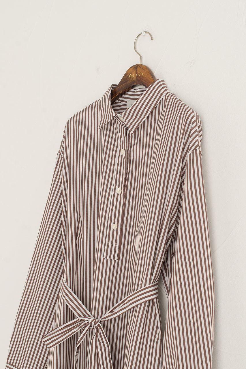 Jina Stripe Shirt Dress, Brown