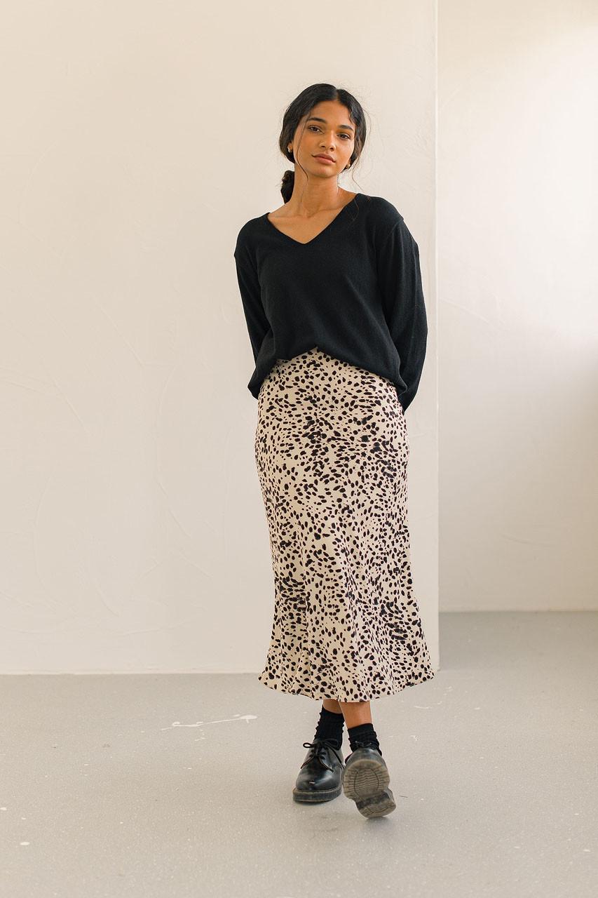 Animal Print Mermaid Skirt, Beige