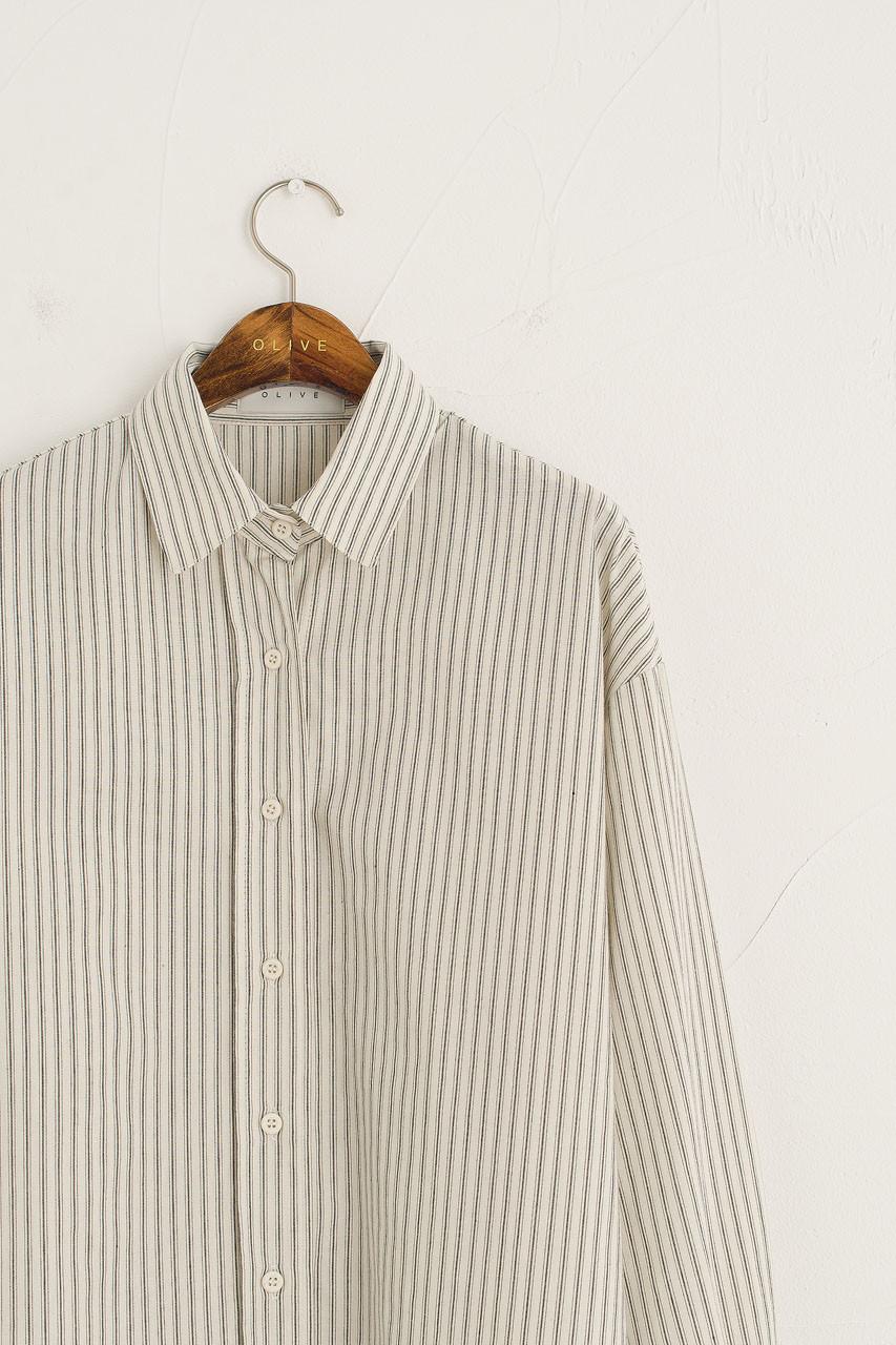 Double Stripe Cotton Shirt, Ivory