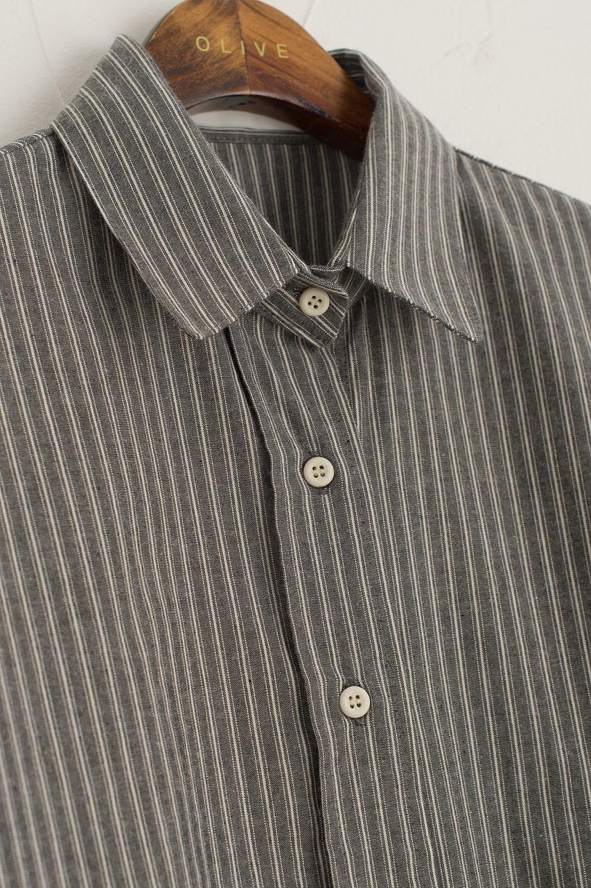 Double Stripe Cotton Shirt, Black
