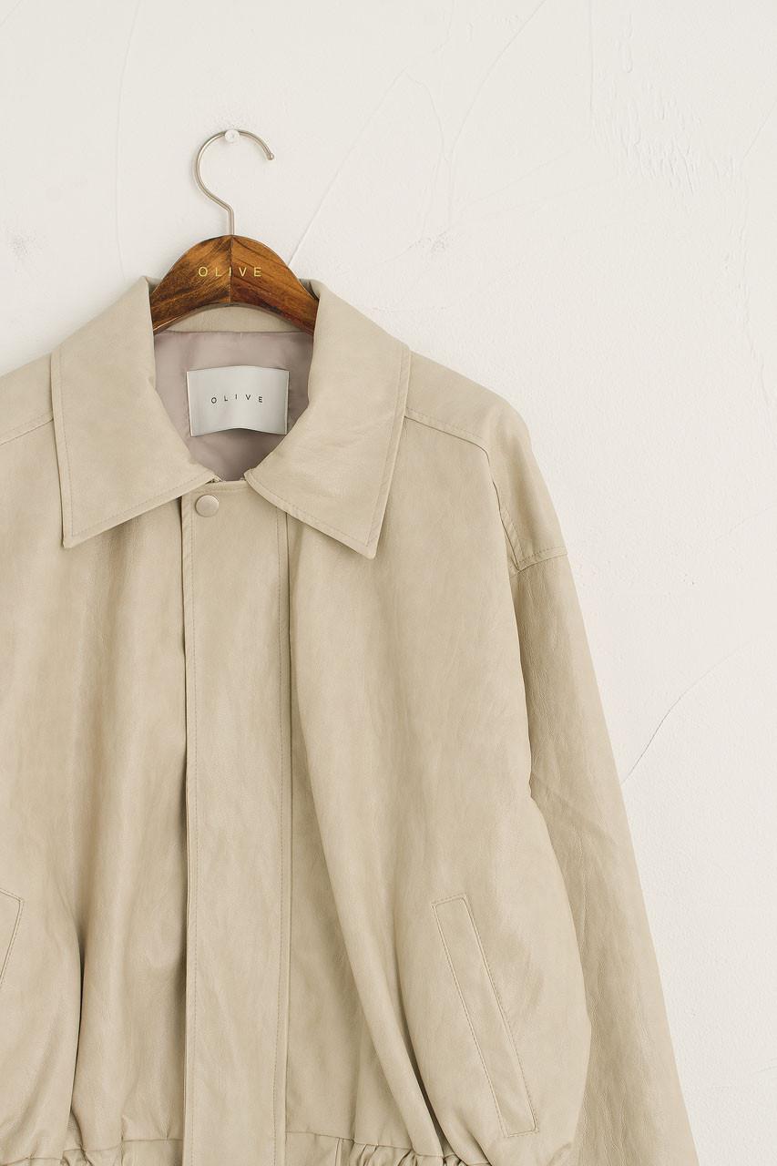 Raye Faux Leather Blouson, Ivory