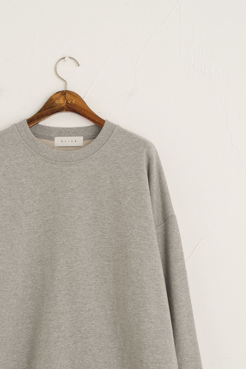 Aki Washed Sweatshirt, Melange Grey
