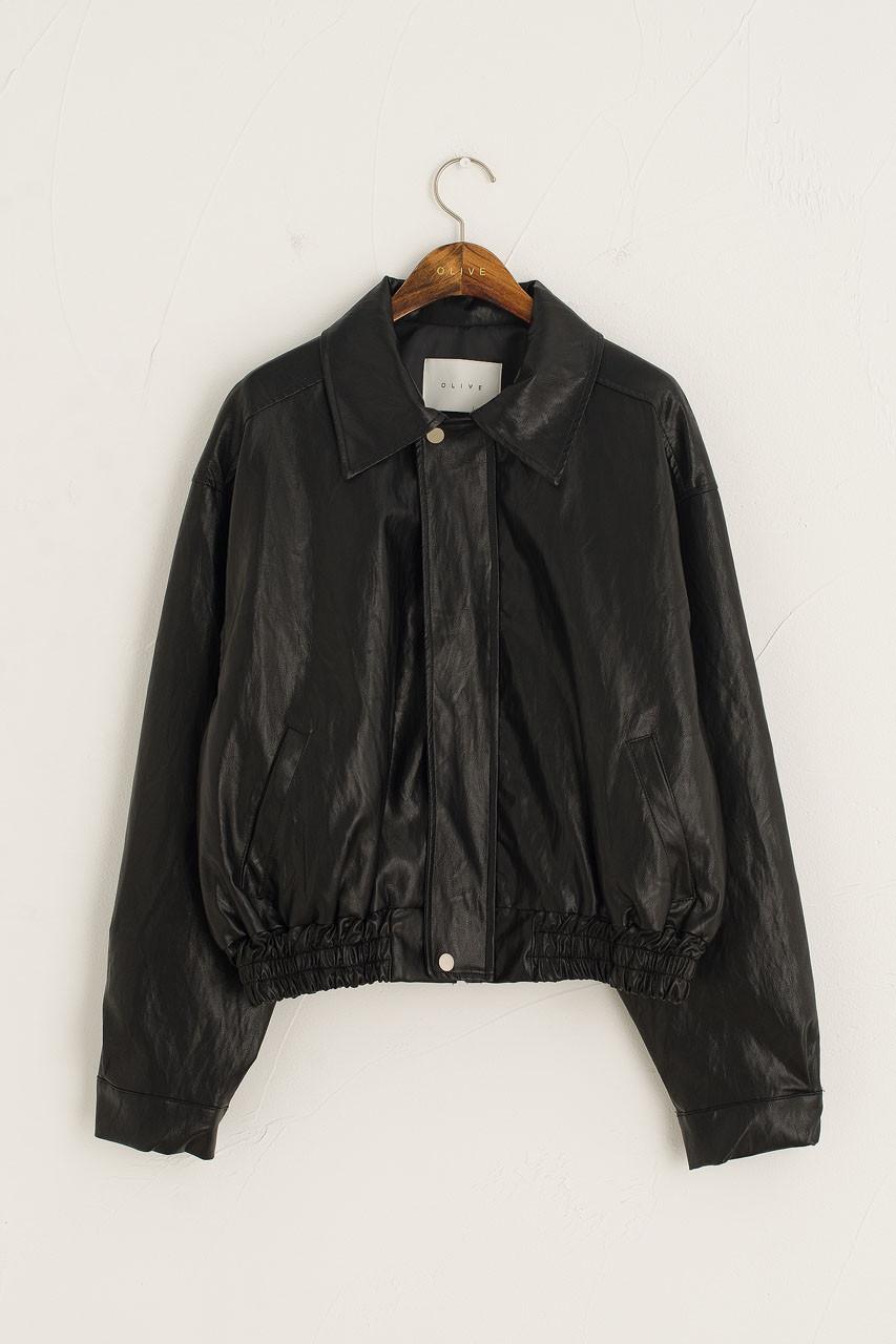 Raye Faux Leather Blouson, Black