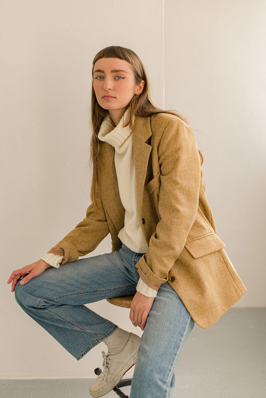 Kiko Herringbone Jacket, Mustard