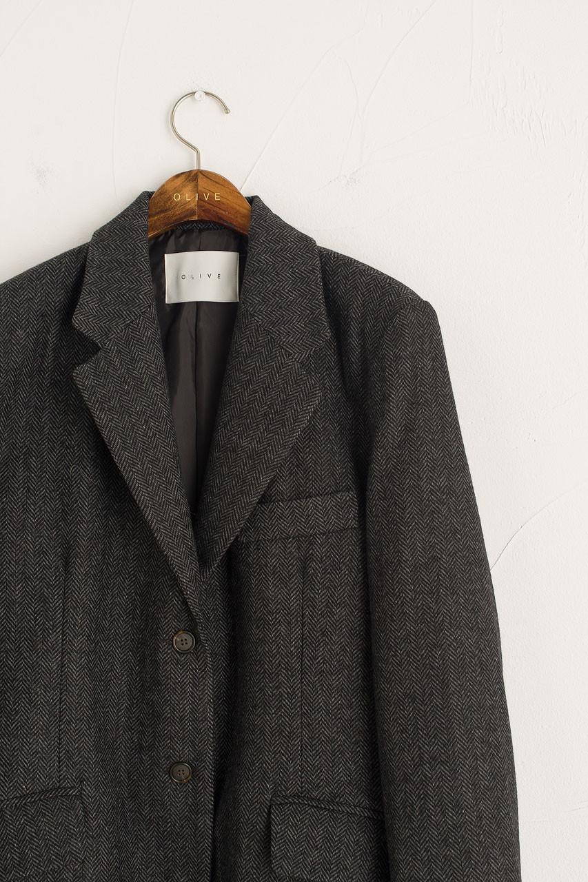 Kiko Herringbone Jacket, Charcoal