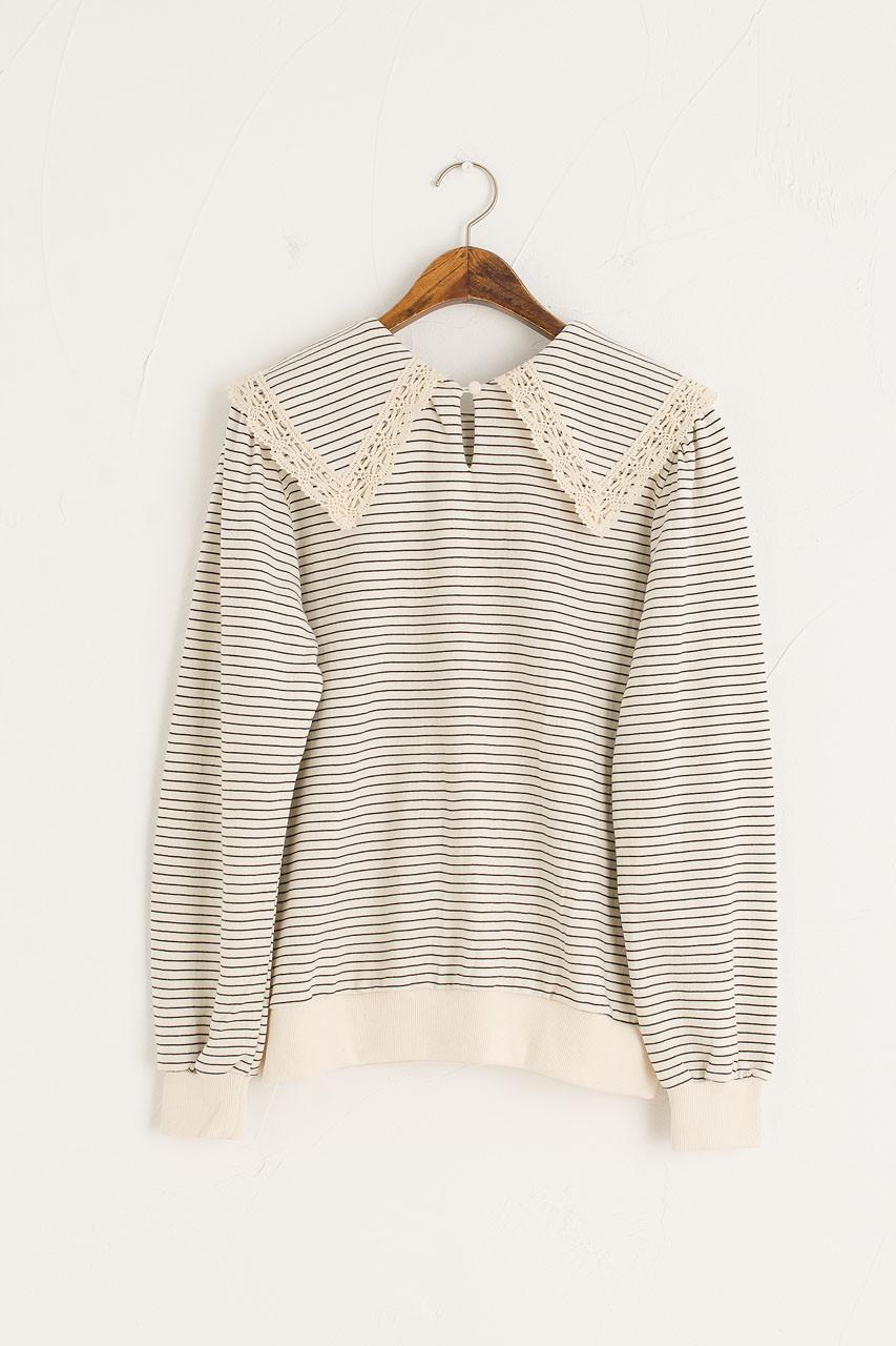 Stripe Crochet Collar Sweatshirt, Navy