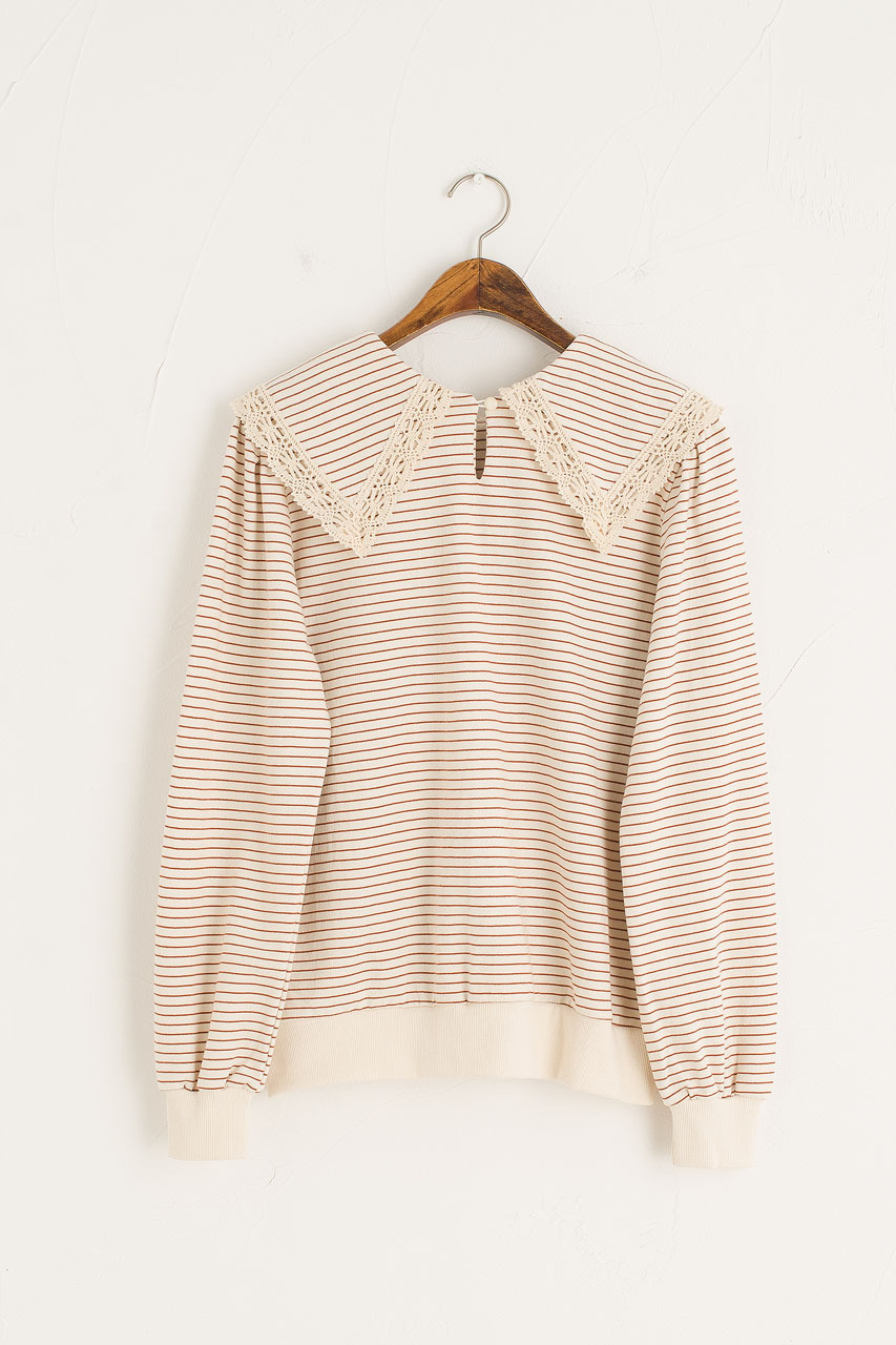 Stripe Crochet Collar Sweatshirt, Wine