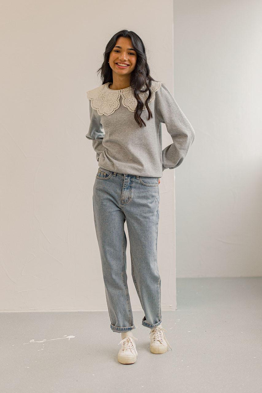 Big Lace Collar Sweatshirt, Grey