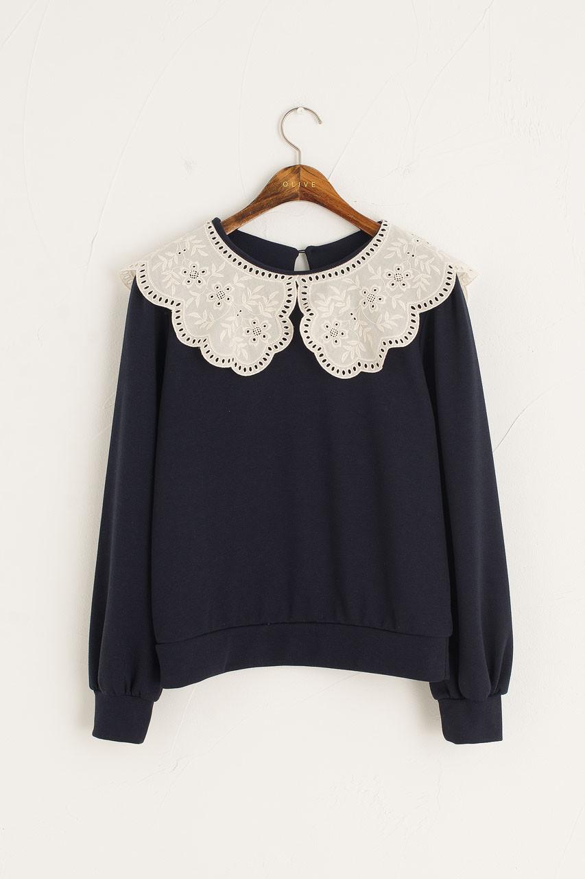 Big Lace Collar Sweatshirt, Navy