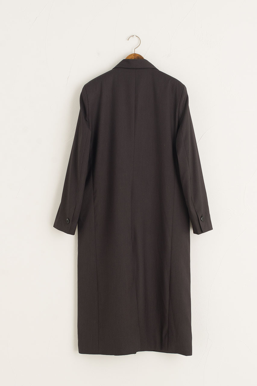 Long Tailored Coat, Charcoal