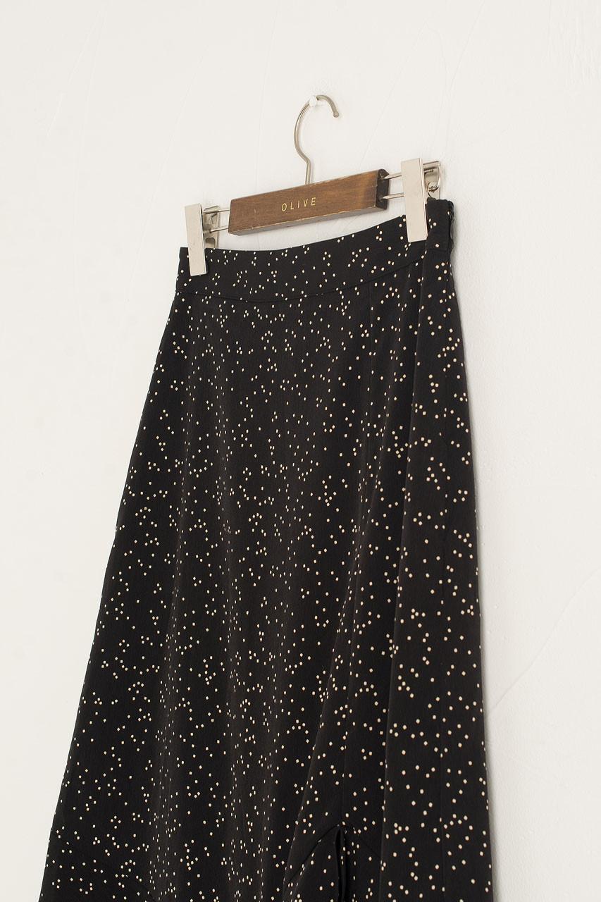 Mia Dot Print Skirt, Black