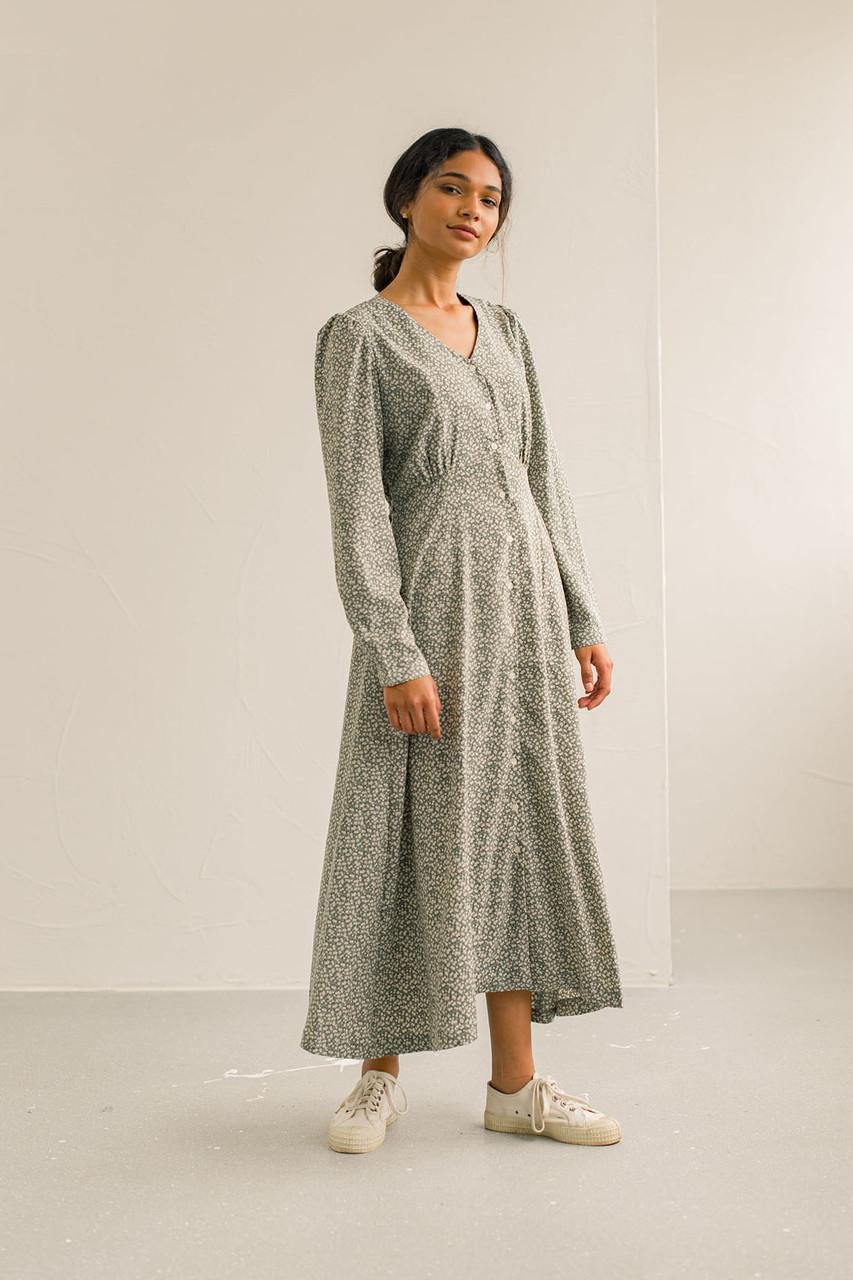 Carmine Flower Dress, Khaki