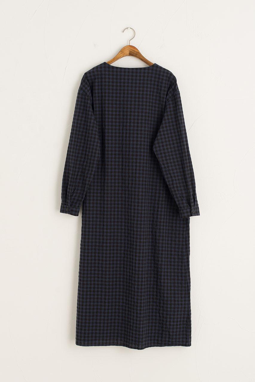 Sakura Gingham Dress, Navy