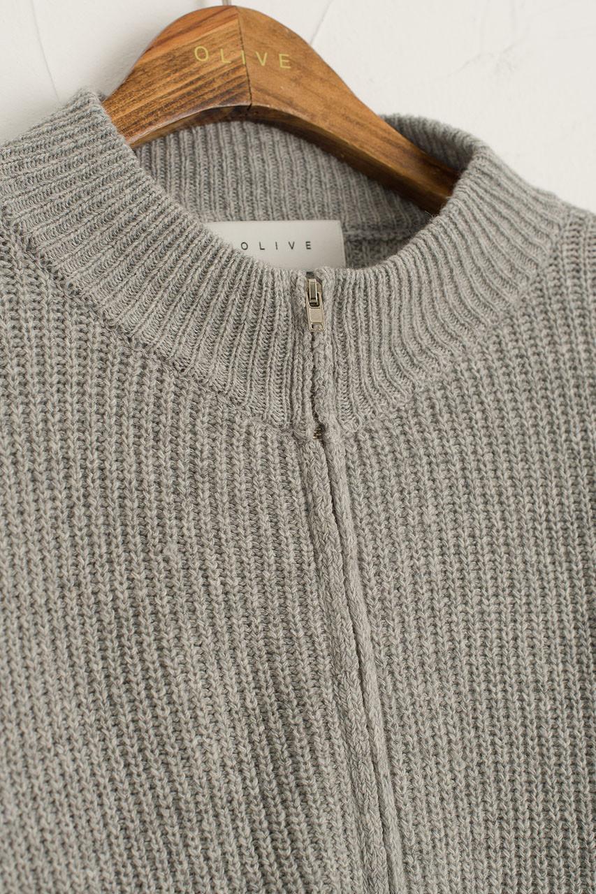 Zipped Daily Knit, Grey