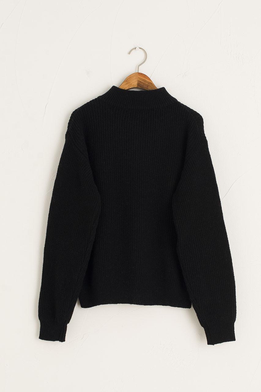Zipped Daily Knit, Black