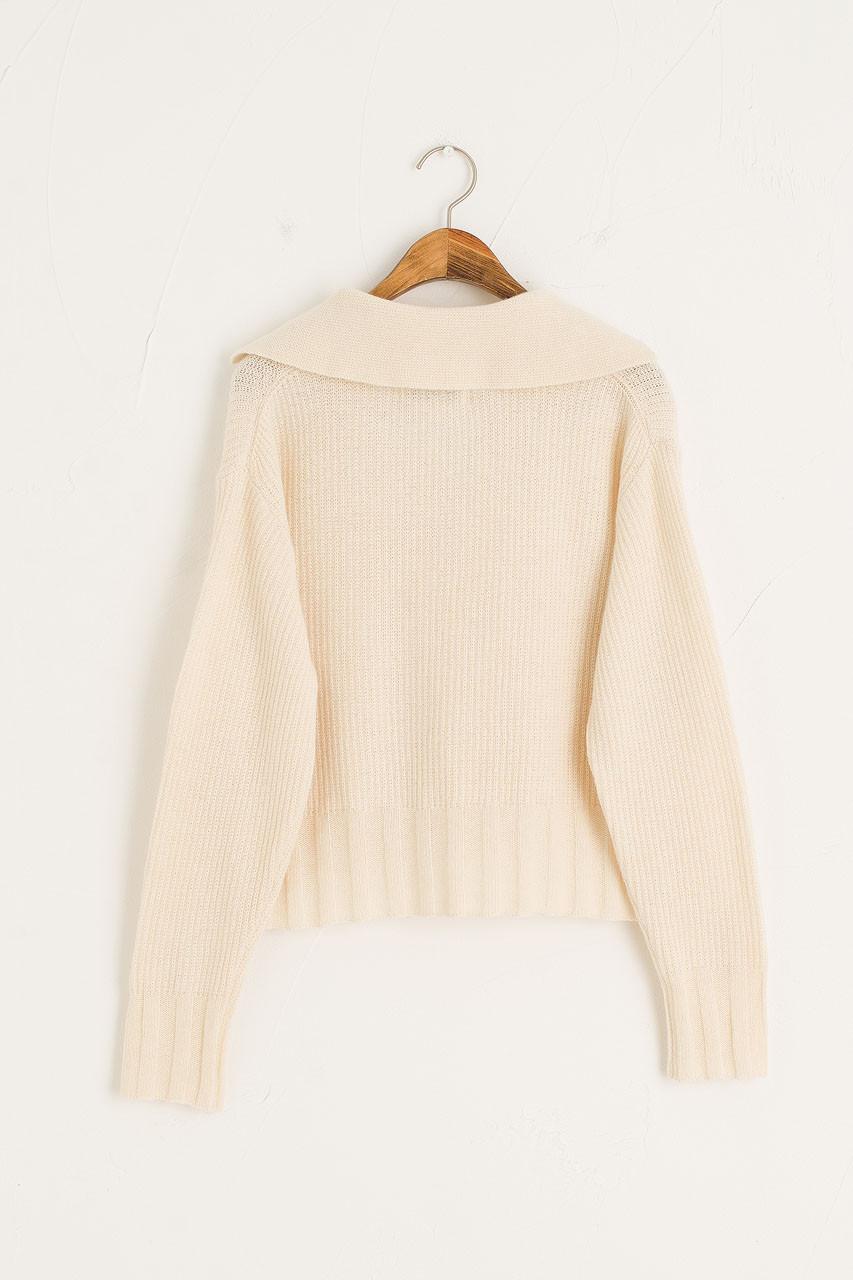 Yasu Open Collar Jumper, Cream