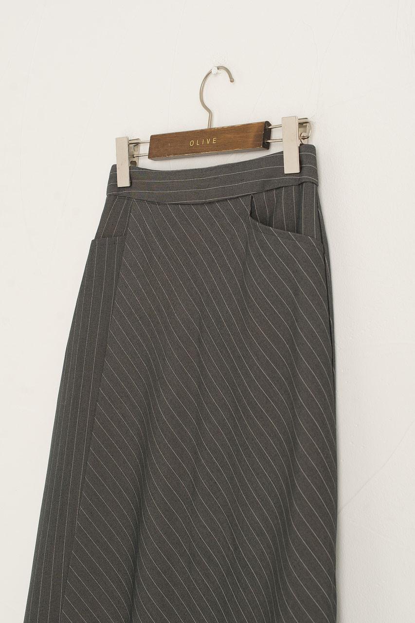 Balloon Stripe Skirt, Grey