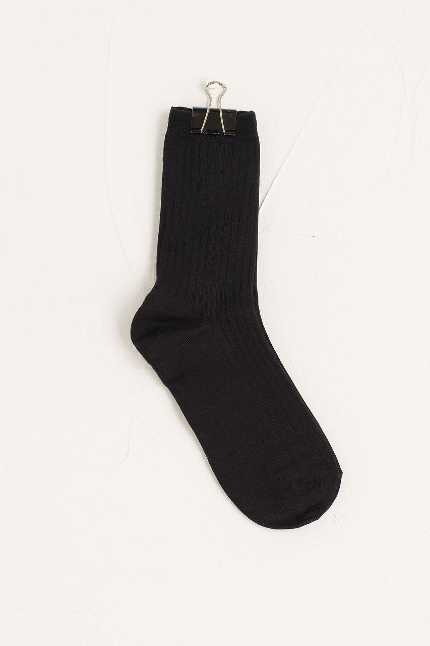 Sora Ribbed Socks, Black