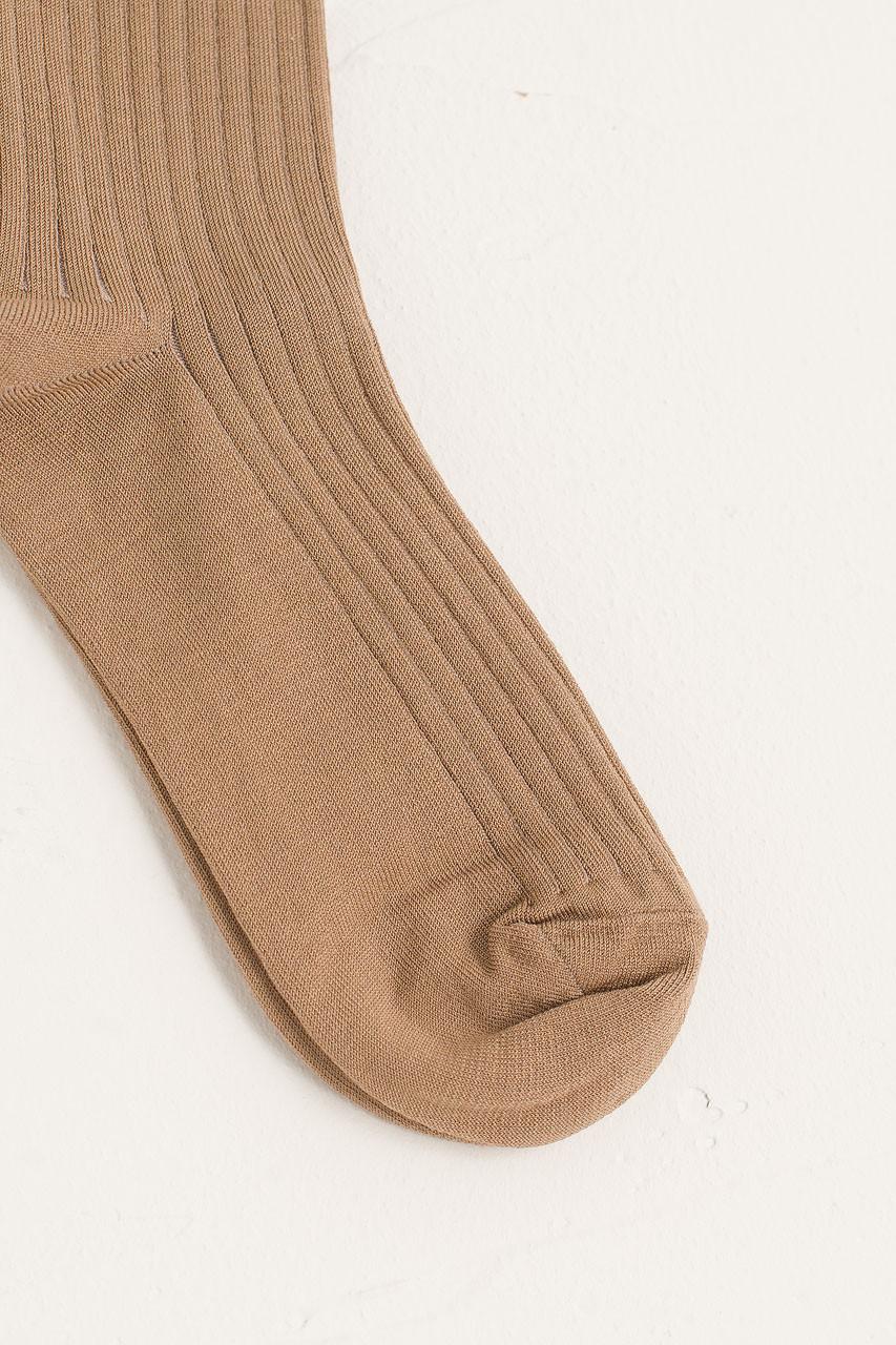 Sora Ribbed Socks, Beige