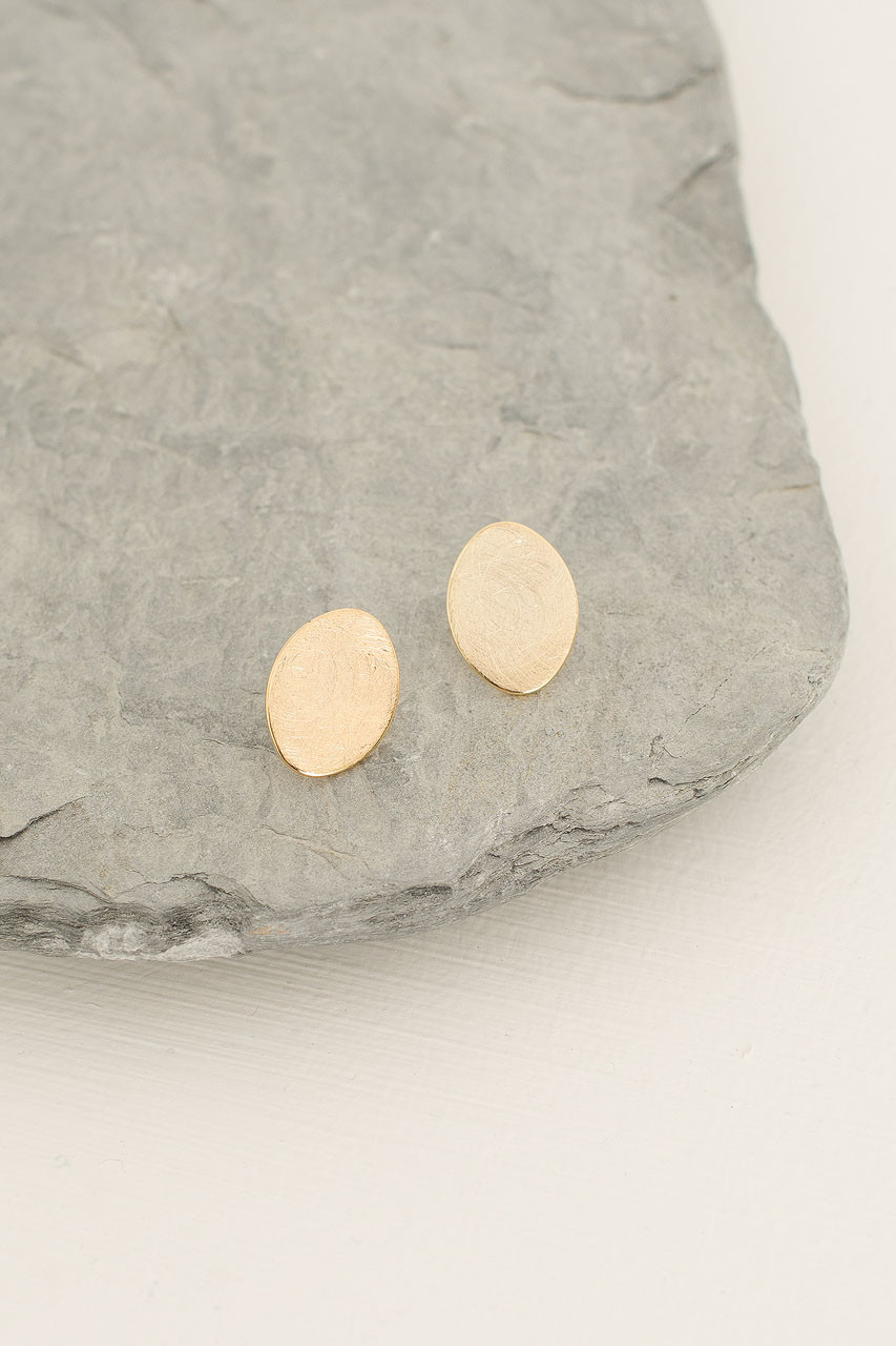 Oval Studs, Gold Plated