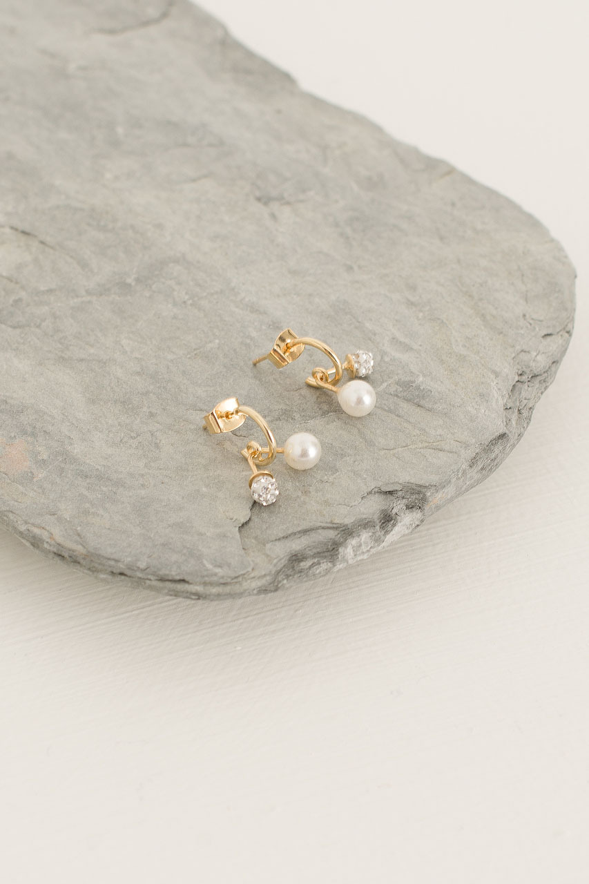 Mini Cherry Pearl Earrings, Gold Plated