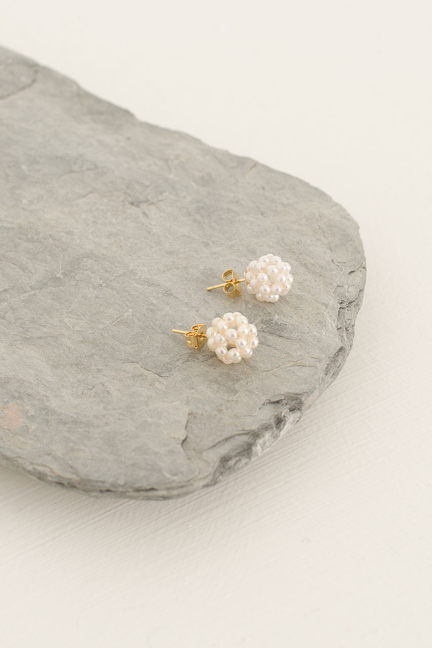 Pearl Ball Studs, Gold Plated