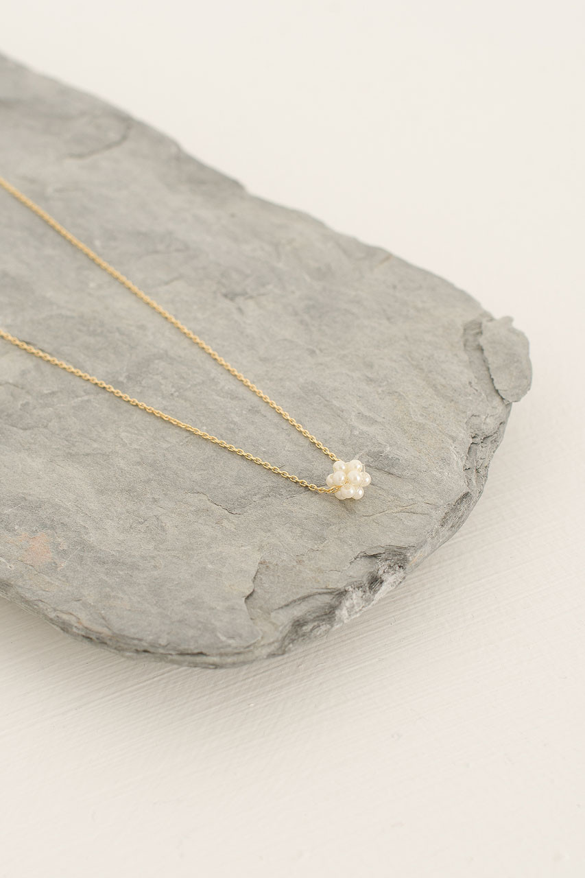Mini Pearl Ball Necklace, Gold Plated