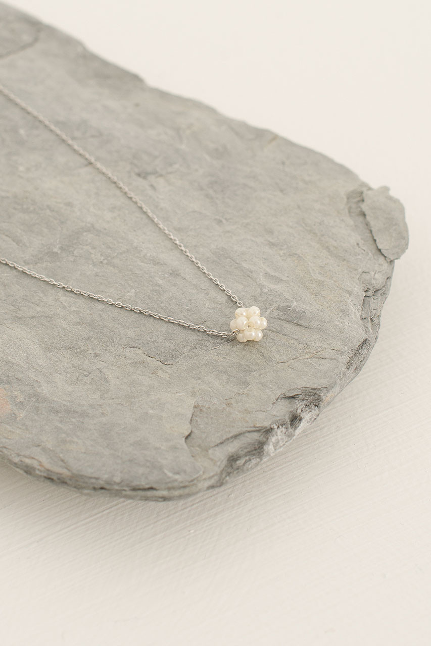 Mini Pearl Ball Necklace, Silver Plated