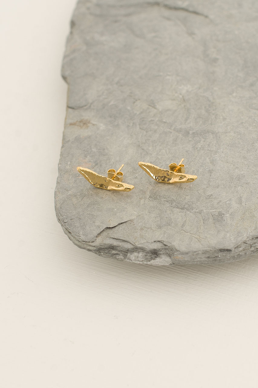 Boomerang Studs, Gold Plated