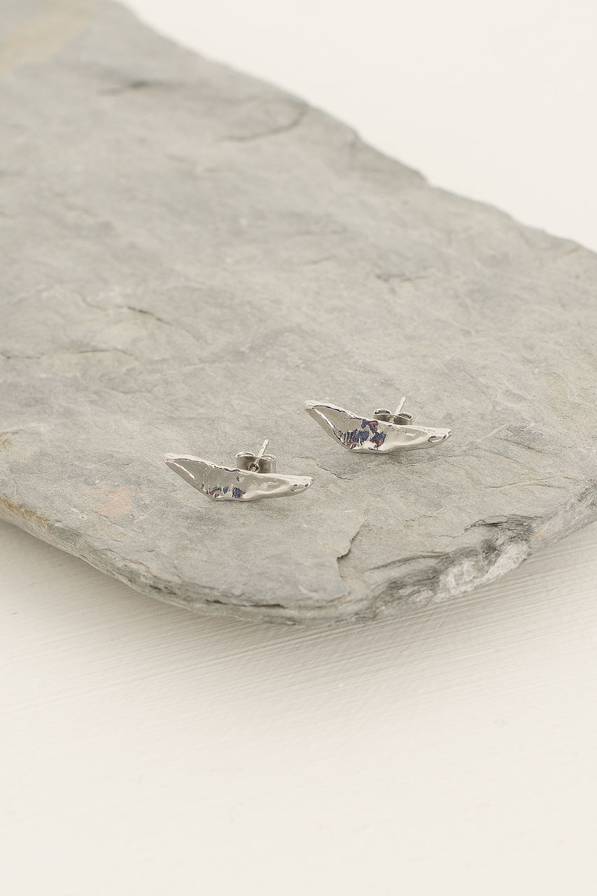 Boomerang Studs, Silver Plated