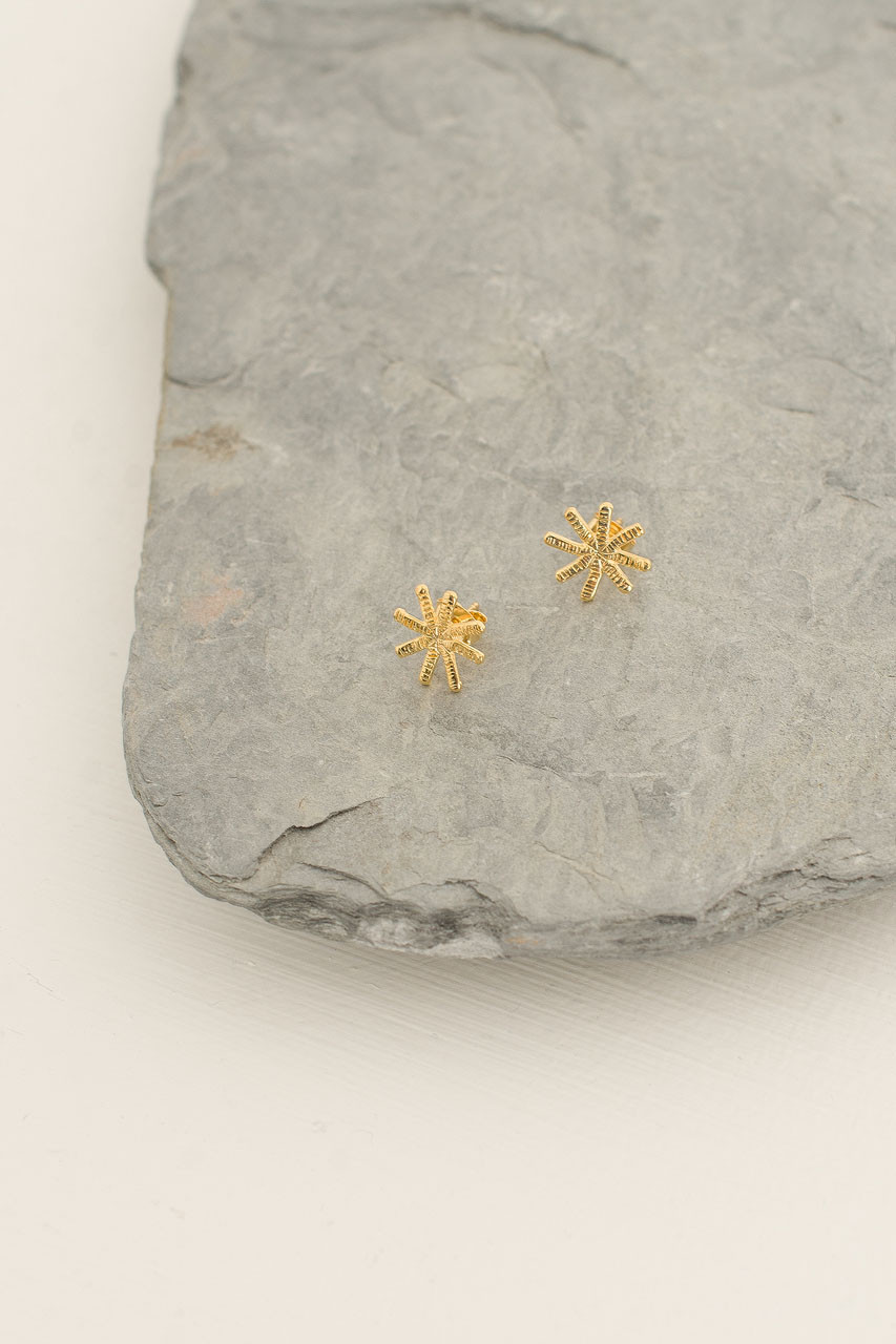 Snowflake Star Studs, Gold Plated