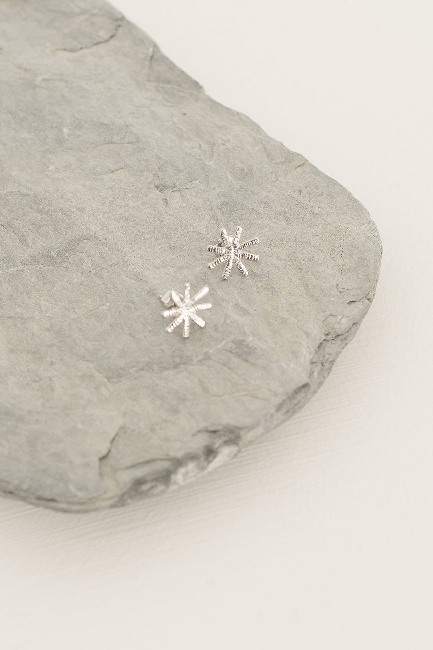 Snowflake Star Studs, Silver Plated