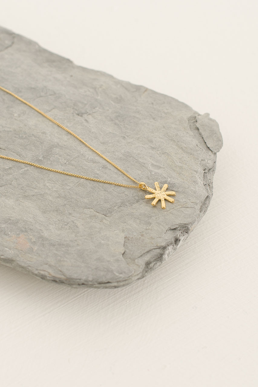 Snowflake Star Necklace, Gold Plated