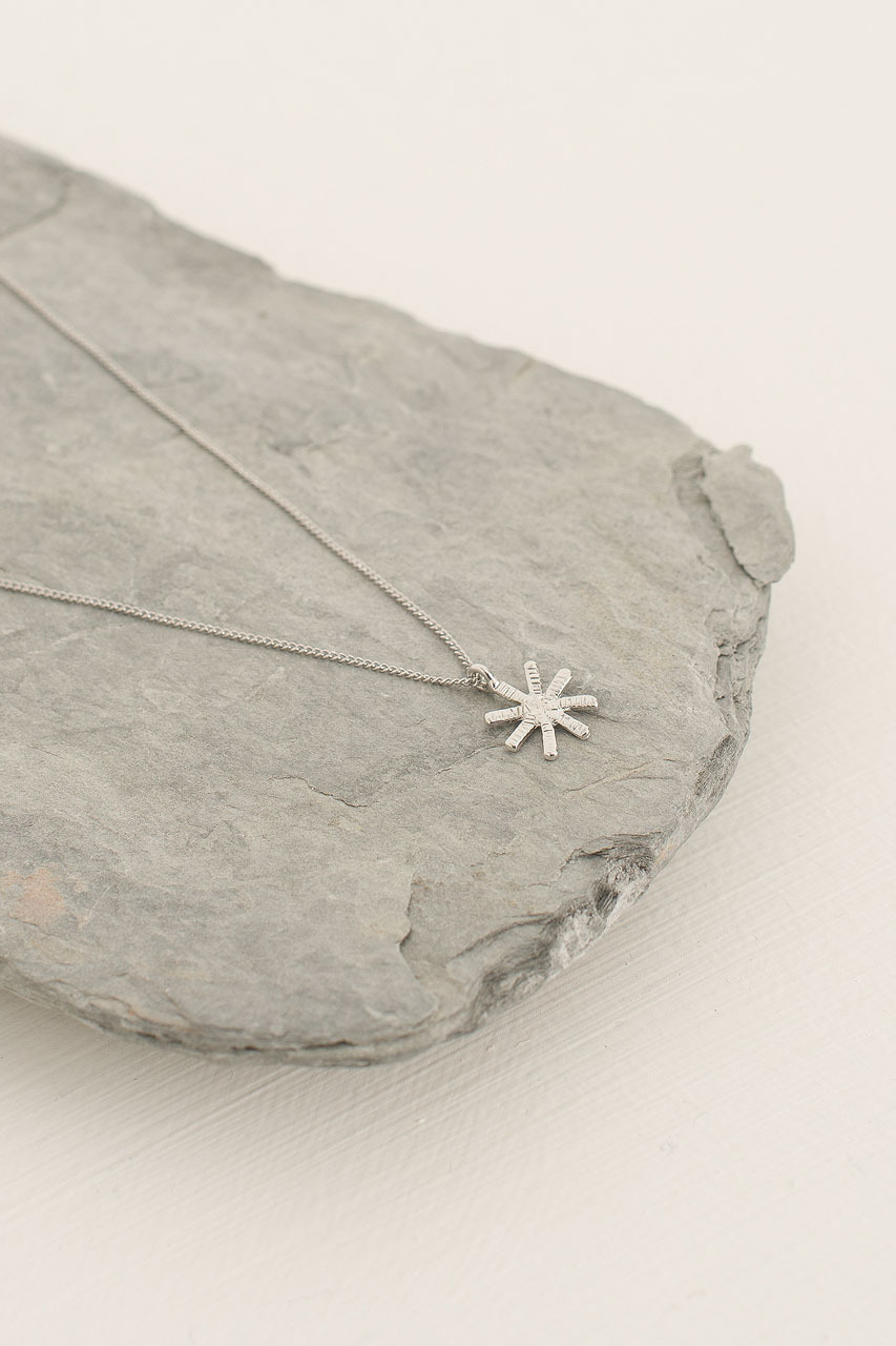 Snowflake Star Necklace, Silver Plated