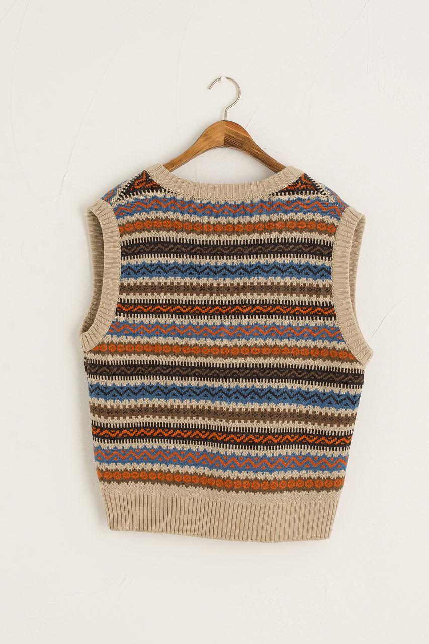 Boxy Vintage Vest, Beige