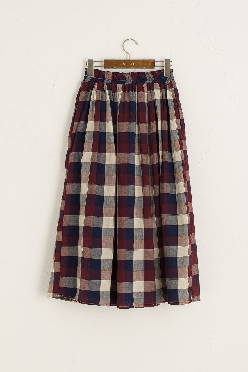 Nell Check Cotton Skirt, Wine