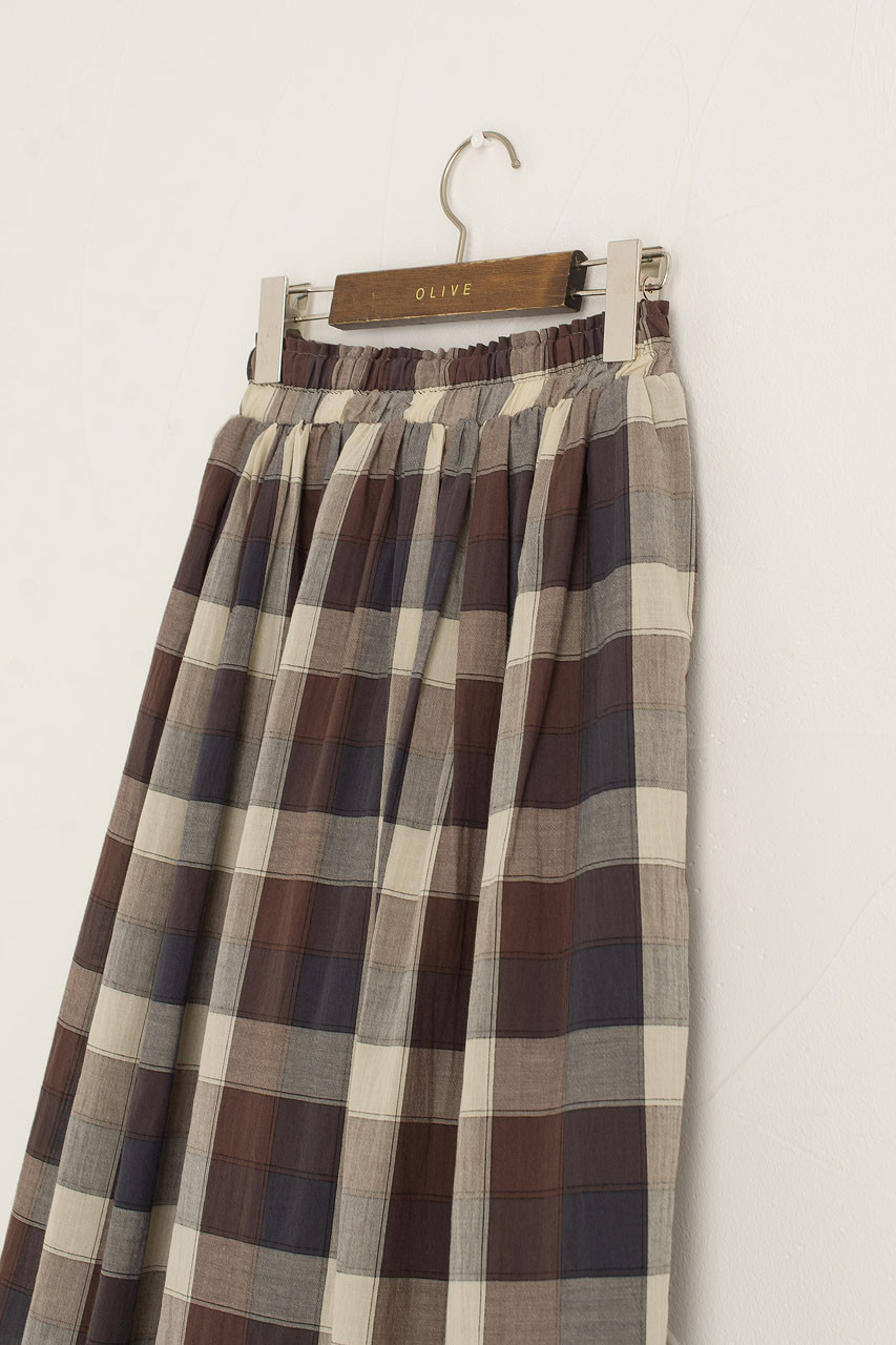 Nell Check Cotton Skirt, Brown