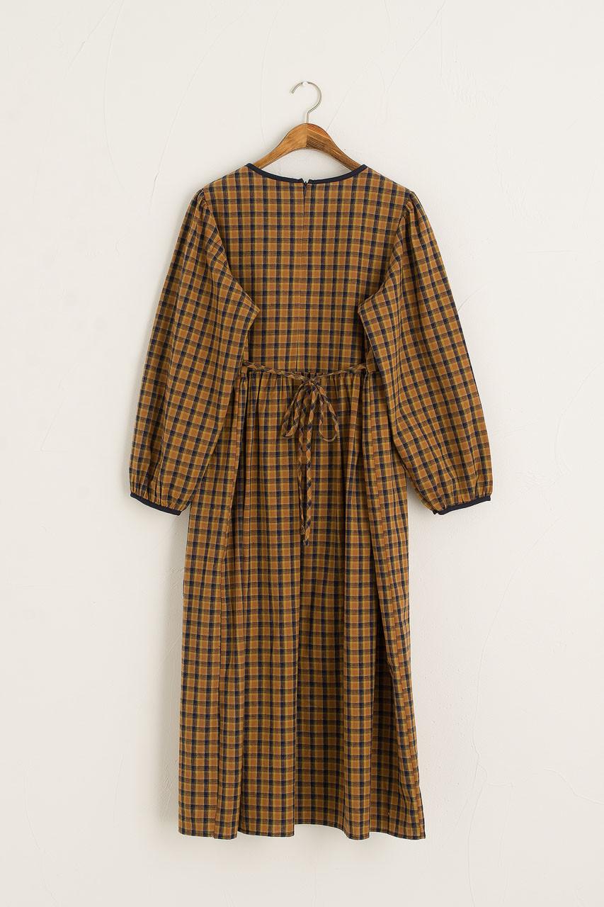 Kaneko Check Dress, Burnt Orange