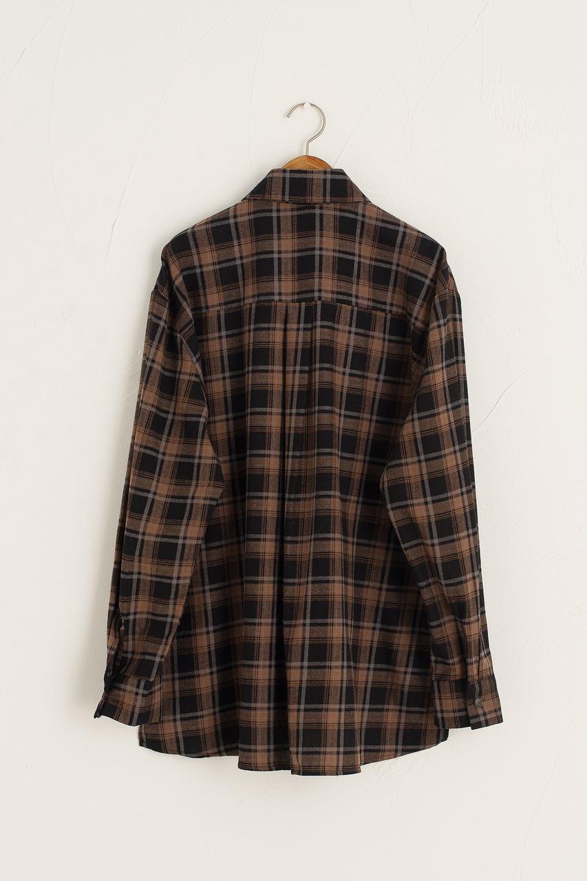 Brushed Cotton Boxy Shirt, Black