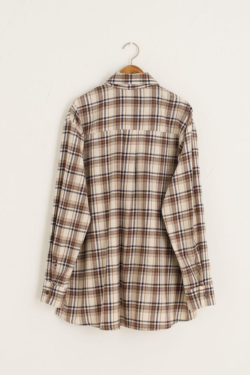 Brushed Cotton Boxy Shirt, Beige