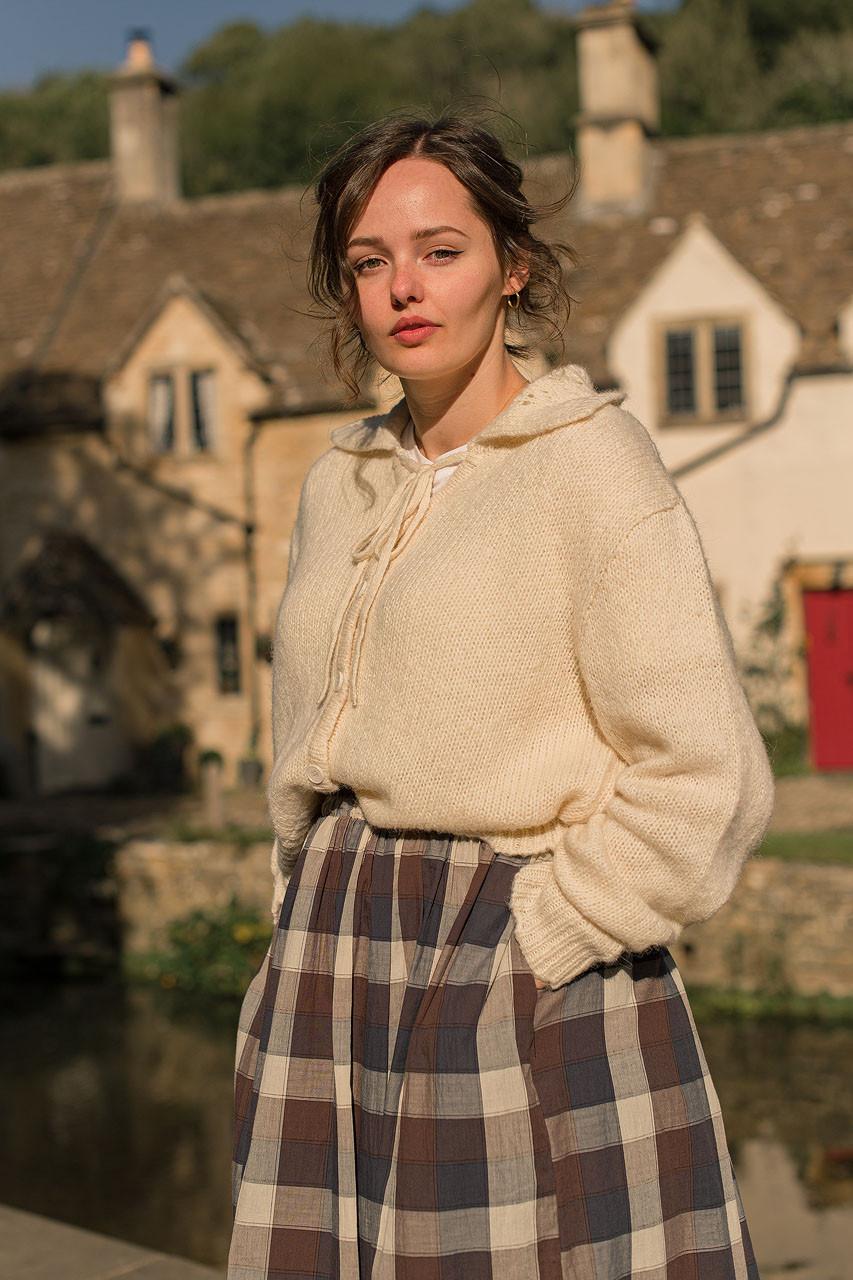 Jane Crochet Collar Cardigan, Ivory