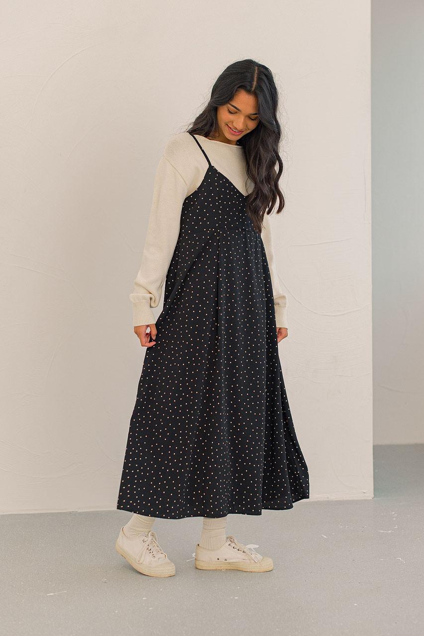 Jemma Dotty Cami Dress, Black