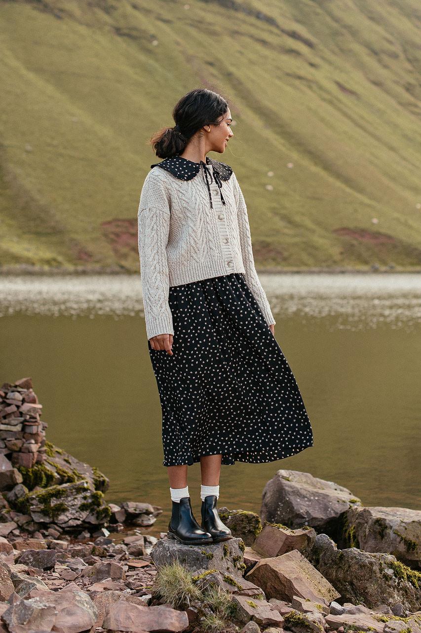 Olea Printed Dress, Black