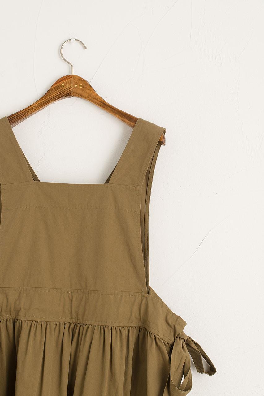 Cross-Back Apron Dress, Khaki
