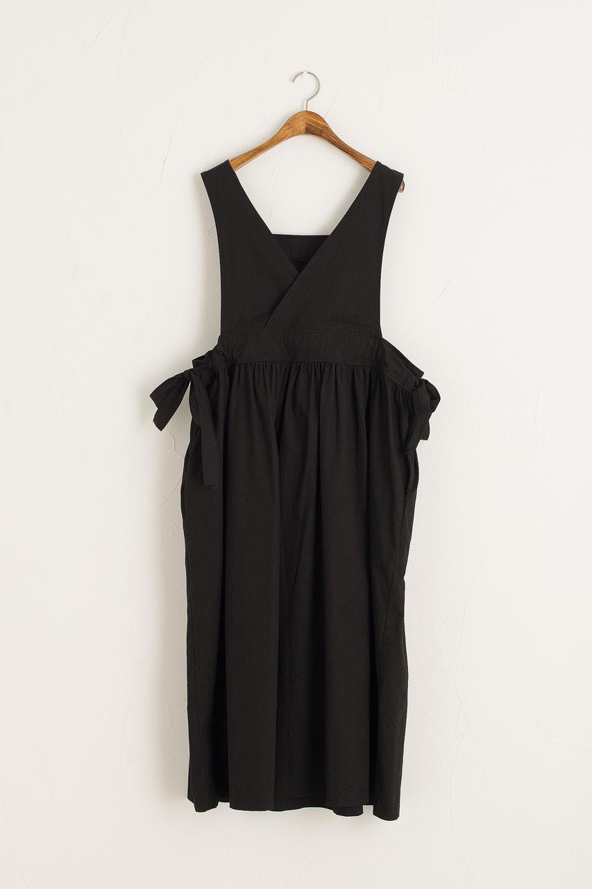 Cross-Back Apron Dress, Black
