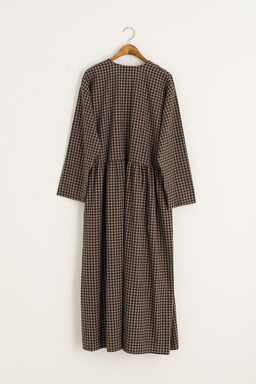 Nia Check Wrap Dress, Brown