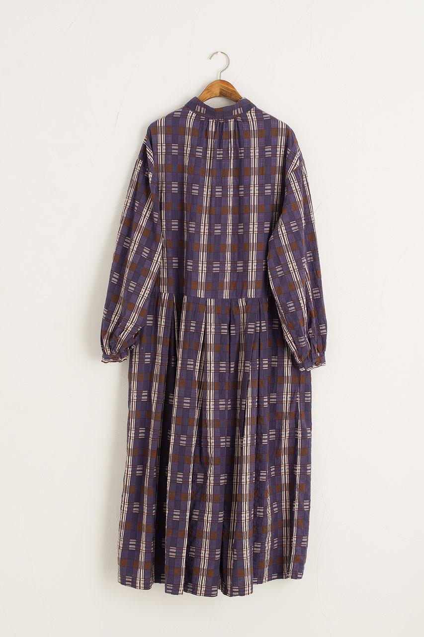 Aura Check Shirt Dress, Purple